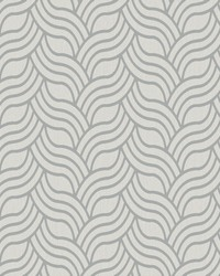 Interlocking Geo Wallpaper white  metallic silver by