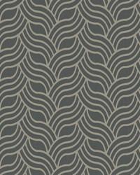 Interlocking Geo Wallpaper grey  metallic antique silver by