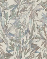 Rainforest Leaves Wallpaper Lavender Lt Blue by