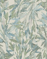 Rainforest Leaves Wallpaper Lt Blue Muted Green by