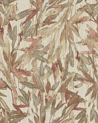 Rainforest Leaves Wallpaper Red Warm Grey by