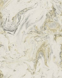 Oil Marble Wallpaper White Black Gold by