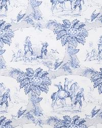 Beige French Country Toile Fabric  7540a Country Squire S0525 Blue & Ivory