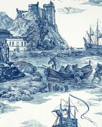 Blue Boats and Sailing Fabric  Marine Toile Indigo