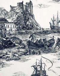 Black Boats and Sailing Fabric  Marine Toile Black