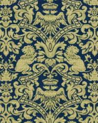 Blue Jungle Safari Fabric  Iron Lions 26705 516 Classic Navy
