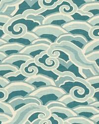 Blue Oriental Fabric  Decowaves Peacock