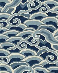 Blue Oriental Fabric  Decowaves Ultramarine