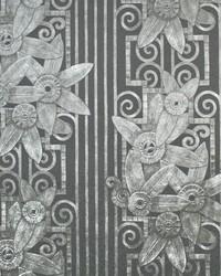 Fleur Moderne Charcoal by  Ralph Lauren Wallpaper