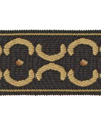 Black Fabric Trim Border  01872 Black/gold