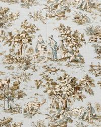 Green French Country Toile Fabric  02099 Robins Egg