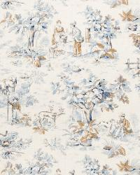 Blue French Country Toile Fabric  02099 Cobalt