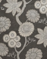 Black Modern Floral Fabrics  Kiki Graphite