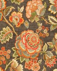 Grey Jacobean Floral Fabric  Kelly Ash