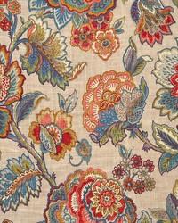 Multi Jacobean Floral Fabric  Kelly Fiesta