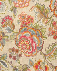 Multi Jacobean Floral Fabric  Kelly Carnival