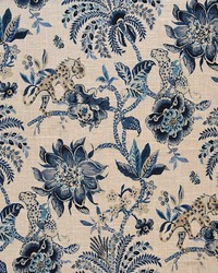 Blue Jungle Safari Fabric  Meow Indigo