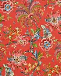 Red Jungle Safari Fabric  Meow Red
