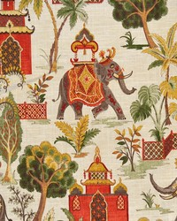 Multi Elephants and Other Exotic Animals Fabric  Pyrrhus Traditional