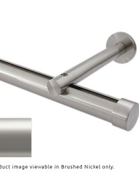 Single Rod Wall Mount Extended Projection H-Rail Curtain Track Satin Nickel by