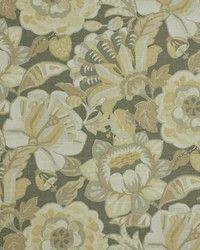 Silver Large Print Floral Fabric  Naive Floral Pewter