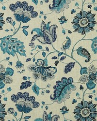 Large Print Floral Fabric  Spring Mix Ultramarine