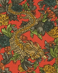 Orange Oriental Fabric  Ming Dragon Persimmon