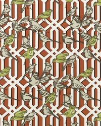 Birds Fabric  Aviary Trellis Poppy
