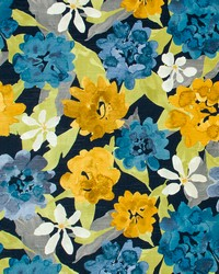 Blue Large Print Floral Fabric  Lush Floral Indigo