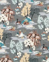 Black Oriental Fabric  Modern Toile Graphite