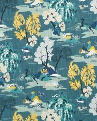 Blue Oriental Fabric  Modern Toile Peacock