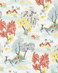 Orange Oriental Fabric  Modern Toile Persimmon