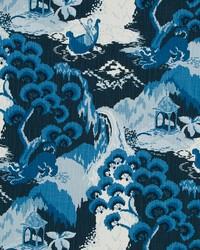 Blue Oriental Fabric  Road To Canton Ocean