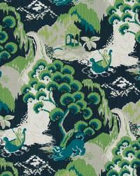 Green Oriental Fabric  Road To Canton Marrakech Green