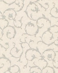 Clover Blue Acanthus Scroll by  Brewster Wallcovering