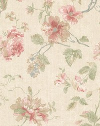 Marnie Pink Peony Trail by  Brewster Wallcovering