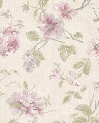 Marnie Maroon Peony Trail by  Brewster Wallcovering