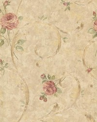 Lotus Bronze Floral Scroll by  Brewster Wallcovering
