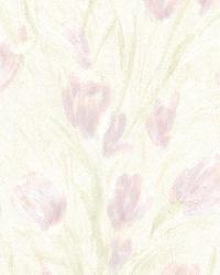 Jessamine Lavender Tulips by  Brewster Wallcovering
