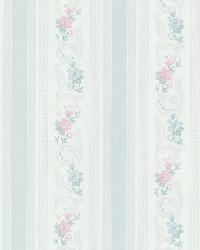 Nicola Light Blue Scrolling Floral Stripe by