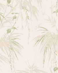Nessa Champagne Satin Leaf Motif by  Brewster Wallcovering