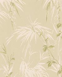 Nessa Beige Satin Leaf Motif by  Brewster Wallcovering