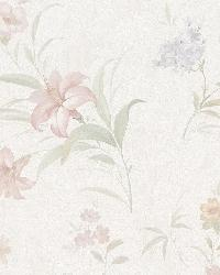 Arlette Pastel Satin Floral Toss by  Brewster Wallcovering