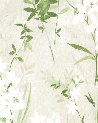 Henrietta Green Watercolor Floral  by  Brewster Wallcovering