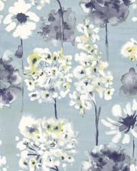 Marilla Blueberry Watercolor Floral Wallpaper by