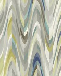 Aurora Blue Geometric Wave Wallpaper by