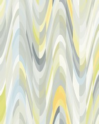 Aurora Yellow Geometric Wave Wallpaper by