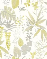 Descano Flower Golden Green Botanical Wallpaper by