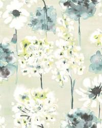 Marilla Aquamarine Watercolor Floral Wallpaper by
