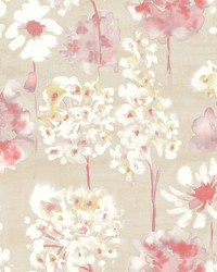 Marilla Red Watercolor Floral Wallpaper by